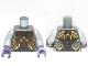 Part No: 973pb1202c01  Name: Torso Alien with Gold, Dark Brown and Dark Purple Armor Pattern / Light Bluish Gray Arms / Dark Purple Hands