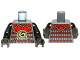 Part No: 973pb1349c01  Name: Torso Ninjago Red Armor with Lime Swirl Medallion Pattern / Black Arms / Black Hands