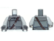 Part No: 973pb1499c01  Name: Torso SW Vest with Two Small Buttons, Dark Brown Shoulder Strap and Double Belt Pattern / Light Bluish Gray Arms / Dark Bluish Gray Hands