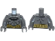 Part No: 973pb1632c01  Name: Torso Batman Logo with Muscles and Gold Belt Pattern / Dark Bluish Gray Arms / Dark Bluish Gray Hands