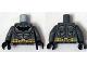 Part No: 973pb1839c01  Name: Torso Batman Logo with Muscles, Light Bluish Gray Shadow and Gold Belt Pattern / Dark Bluish Gray Arms / Black Hands