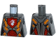 Part No: 973pb2240  Name: Torso Nexo Knights Female Armor with Orange and Gold Circuitry and White Dragon Head on Red Pentagonal Shield Pattern