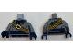 Part No: 973pb2594c01  Name: Torso Coat with Dark Blue Scarf and Sash, Dark Orange Bandolier with Black Bat on Gold Buckle Pattern / Dark Bluish Gray Arms / Dark Blue Hands