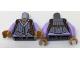 Part No: 973pb2656c01  Name: Torso Female Vest with White Pinstripes, Lavender Shirt and Reddish Brown Shoulder Holster Pattern / Lavender Arms / Medium Dark Flesh Hands