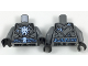 Part No: 973pb2813c01  Name: Torso Armor Plates with Electrified Lord Krakenskull Symbols and Blue Arcane Symbols Pattern / Dark Bluish Gray Arms / Black Hands