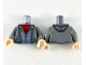 Part No: 973pb3511c01  Name: Torso Jacket with Hood, Silver Zipper, Sand Blue Shirt, Red Undershirt with Black Spider and Webs Pattern / Dark Bluish Gray Arms / Light Flesh Hands
