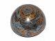 Part No: 98107pb05  Name: Cylinder Hemisphere 11 x 11, Studs on Top with Coruscant Black / Gold / Orange Planet Pattern (75007)