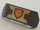 Part No: 98834pb13  Name: Vehicle, Spoiler 2 x 4 with Handle with Yellow King Symbol on Orange Pentagonal Shield Pattern (Sticker) - Set 70327
