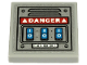 Part No: 11203pb054  Name: Tile, Modified 2 x 2 Inverted with White 'DANGER' and 3 Blue Buttons on Metal Plate with Vent Pattern (Sticker) - Set 70432