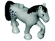 Part No: 1376pb02  Name: Duplo Horse with one Stud and Raised Hoof with Black Mane, Tail and Spots Pattern