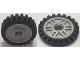 Part No: 13971c02  Name: Wheel 18mm D. x 8mm with Fake Bolts and Deep Spokes with Inner Ring with Black Tire Matching Tread - Band Around Center of Tread (13971 / 61254b)