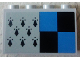 Part No: 14718pb017  Name: Panel 1 x 4 x 2 with Side Supports - Hollow Studs with 8 Black Spires and Black and Blue Squares Pattern (Sticker) - Set 75956