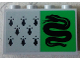 Part No: 14718pb018  Name: Panel 1 x 4 x 2 with Side Supports - Hollow Studs with 8 Black Spires and Snake on Green Background Pattern (Sticker) - Set 75956