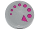 Part No: 14769pb018  Name: Tile, Round 2 x 2 with Bottom Stud Holder with Magenta Circles and Triangle (Arrow Clockwise) Pattern (Sticker) - Set 79119