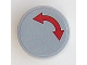 Part No: 14769pb073  Name: Tile, Round 2 x 2 with Bottom Stud Holder with Red Curved Arrow Double on Light Bluish Gray Background Pattern (Sticker) - Set 60098