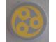 Part No: 14769pb189  Name: Tile, Round 2 x 2 with Bottom Stud Holder with Yellow Swirl SW Ado Eemon Emblem Pattern (Sticker) - Set 75042