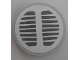 Part No: 14769pb190  Name: Tile, Round 2 x 2 with Bottom Stud Holder with Black Grille on Silver Background Pattern (Sticker) - Set 70134