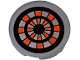 Part No: 14769pb212  Name: Tile, Round 2 x 2 with Bottom Stud Holder with Black, Flat Silver and Orange Nexo Knights Target Pattern (Sticker) - Set 70317