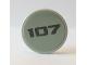 Part No: 14769pb301  Name: Tile, Round 2 x 2 with Bottom Stud Holder with Dark Bluish Gray '107' on Light Bluish Gray Background Pattern (Sticker) - Set 10269