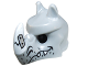 Part No: 15067pb01  Name: Minifigure, Headgear Mask Rhinoceros with Fangs, Stubble and Cracked White Horn Pattern