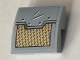 Part No: 15068pb155  Name: Slope, Curved 2 x 2 No Studs with Gold and Light Bluish Gray Panel Pattern (Sticker) - Set 76099