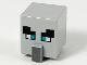 Part No: 23766pb005  Name: Minifigure, Head Modified Cube Tall with Raised Rectangle, Black Eyebrows, Dark Turquoise Eyes and Dark Bluish Gray Nose Pattern