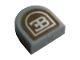 Part No: 24246pb024  Name: Tile, Round 1 x 1 Half Circle Extended (Stadium) with Silver Bugatti Logo Pattern (Sticker) - Set 42083