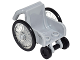 Part No: 24312c01  Name: Minifigure, Utensil Wheelchair with Trans-Clear Wheelchair Wheels and Black Trolley Wheels