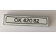 Part No: 2431pb582  Name: Tile 1 x 4 with 'OK 42082' License Plate Pattern (Sticker) - Set 42082