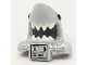 Part No: 25113pb03  Name: Minifigure, Headgear Mask Shark Head with Open Mouth with White Teeth, Black Eyes, Metallic Silver Shoulder Pads and Front Panel and Battery Pattern