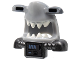 Part No: 25114pb01  Name: Minifigure, Headgear Mask Shark Head with DBG Back, Extended Eyes, White Teeth, Pearl Dark Gray Shoulder Pads and Front Battery Panel Pattern