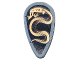 Part No: 2586px7  Name: Minifigure, Shield Ovoid with Black and Copper Karzon Snake Pattern