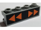 Part No: 2653pb01  Name: Brick, Modified 1 x 4 with Groove with Orange Directional Arrows on Black Background Pattern (Sticker) - Set 7691