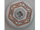 Part No: 2958pb064  Name: Technic, Disk 3 x 3 with Orange and Gold Circuitry in Hexagon Pattern (Sticker) - Set 70317