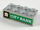 Part No: 3001pb149  Name: Brick 2 x 4 with White Bank on Black Background, White 'CITY BANK' on Green Background Pattern