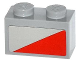 Part No: 3004pb118L  Name: Brick 1 x 2 with Red Triangle Pattern Model Left Side (Sticker) - Set 79121