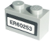 Part No: 3004pb202  Name: Brick 1 x 2 with 'ER60253' License Plate Pattern (Sticker) - Set 60253