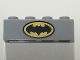 Part No: 3010pb211  Name: Brick 1 x 4 with Black Batman Logo in Black Outlined Yellow Oval Pattern