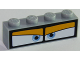 Part No: 3010pb212  Name: Brick 1 x 4 with Blue Eyes on White Background in Black Frame Pattern