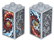 Part No: 30145pb018  Name: Brick 2 x 2 x 3 with Red and Dark Azure Flames, Red and Dark Azure Waves, Gray Dragon, Lion and Pheonix On All Sides Pattern (Stickers) - Set 70627