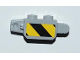 Part No: 30386pb01  Name: Hinge Brick 1 x 2 Locking, 9 Teeth with Black and Yellow Danger Stripes Thick Pattern on Both Sides (Stickers) - Set 3179
