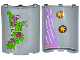 Part No: 30562pb030L  Name: Cylinder Quarter 4 x 4 x 6 with 2 Stars and Curtain on Inside and 4 Magenta Flowers, Leaves and Brick Wall on Outside Pattern (Stickers) - Set 41054
