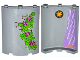 Part No: 30562pb030R  Name: Cylinder Quarter 4 x 4 x 6 with Star and Curtain on Inside and 4 Magenta Flowers, Leaves and Brick Wall on Outside Pattern (Stickers) - Set 41054