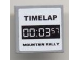 Part No: 3068bpb0197  Name: Tile 2 x 2 with Groove with 'TIMELAP 00:03:57 MOUNTAIN RALLY' on White Pattern (Sticker) - Set 8124