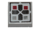 Part No: 3070bpb096  Name: Tile 1 x 1 with Groove with Black Cross and Dark Red and Dark Bluish Gray Buttons Pattern