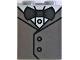Part No: 3245cpb113  Name: Brick 1 x 2 x 2 with Inside Stud Holder with White Shirt, Metallic Silver Vest and Dark Bluish Gray Bow Tie Pattern (BrickHeadz Groom)