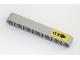 Part No: 32524pb031  Name: Technic, Liftarm 1 x 7 Thick with White 'Lock' on Black Arrow on Yellow Background Pattern (Sticker) - Set 42043