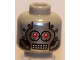 Part No: 3626bpb0434  Name: Minifigure, Head Silver Faceplate, Red Eyes and Rectangular Grid Mouth Pattern - Blocked Open Stud