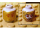 Part No: 3626bpb0498  Name: Minifigure, Head Dual Sided Alien with Gold Death Mask / Mummy Wrap with Red Eyes and Open Mouth Pattern - Blocked Open Stud