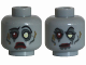 Part No: 3626cpb0765  Name: Minifigure, Head Dual Sided Alien with White and Red Eye, Eyelashes and Red Lips, Sad / Determined Pattern (Zombie Bride) - Hollow Stud